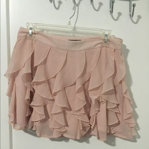 Express light pink ruffle mini skirt
